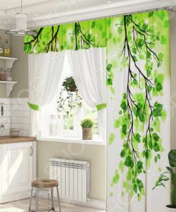 Комплект штор для окна с балконом ТамиТекс «Веточка»