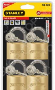 Комплект из 4-х навесных замков Stanley S 742-039 Sоlid Brass