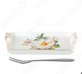 Тарелка для лимона с вилкой Elan Gallery «Белый шиповник»
