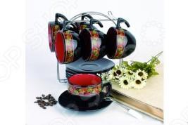 Чайный набор на подставке Фарфоровый путь «Клубника»