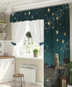 Комплект штор для окна с балконом ТамиТекс «Кот на крыше»