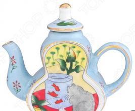 Чайник сувенирный Elan Gallery «Кот у аквариума»