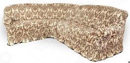 Натяжной чехол на угловой диван Еврочехол «Фантазия. Венеция»