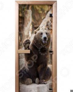 Дверь для бани с фотопечатью Банные штучки «Бурый медведь» 32677