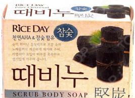 Мыло-скраб для тела CJ Lion Rice Day «Древесный уголь»