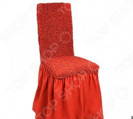 Натяжной чехол на стул с юбкой Еврочехол «Микрофибра. Терракотовый»