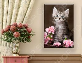 Картина ТамиТекс «Котенок и цветы»