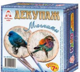 Декупаж по дереву Азбука тойс «Магниты: Птички»