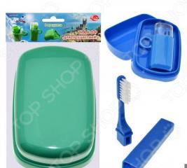 Набор дорожный: мыльница, зубная щетка и футляр Мультидом TL34-93. В ассортименте