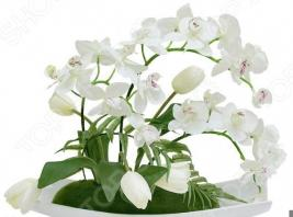 Декоративные цветы Dream Garden «Орхидея белая c тюльпанами» на подставке