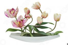 Декоративные цветы Dream Garden «Тюльпаны светлые с орхидеями» на подставке