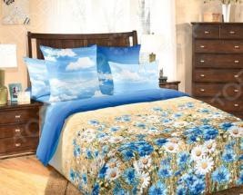 Комплект постельного белья ТексДизайн «Васильки» 4250П. Евро