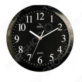 Часы настенные Вега П 1-6/6-6 Черные Арабские Классика