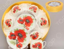 Кофейный набор с ложками Elan Gallery «Маки»