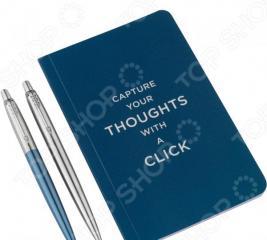 Набор подарочный: ручки шариковые и блокнот Parker Jotter Core Stainless Steel CT and Waterloo Blue