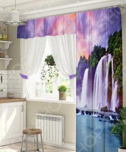Комплект штор для окна с балконом ТамиТекс «Водопад»
