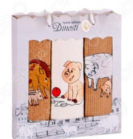 Комплект из 3-х кухонных полотенец Dinosti «Год хрюши»