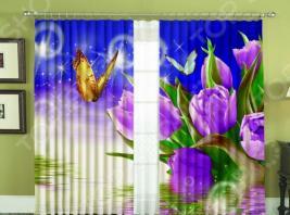 Комплект фотоштор «Батерфляй». Цвет: голубой