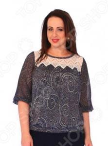 Блуза Wisell «Нежное кружево». Цвет: синий, бежевый