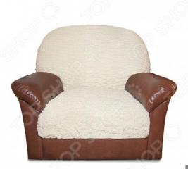 Натяжной чехол на подушку для кресла Еврочехол «Модерн. Шампань»