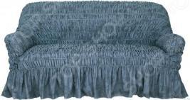Натяжной чехол на трехместный диван Еврочехол «Фантазия. Синий»