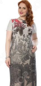 Платье Wisell «Соловьиные песни». Цвет: серый, красный