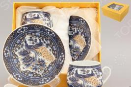 Кофейная пара с ложками Elan Gallery «Павлин синий»