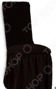 Натяжной чехол на стул Еврочехол «Микрофибра. Черный шоколад»