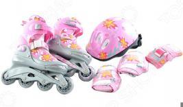 Роликовые коньки с комплектом защиты и шлемом X-MATCH Flowers