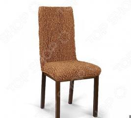 Натяжной чехол на стул Еврочехол «Микрофибра. Кофейный»