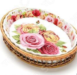 Форма для запекания керамическая Mayer Boch «Утренняя роза». Рисунок: крупные розы