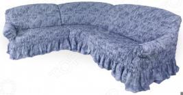 Натяжной чехол на угловой диван Еврочехол «Фантазия. Синий»