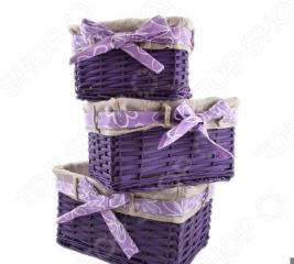 Набор плетеных корзин с вкладкой Miolla SL2. Количество предметов: 3 шт