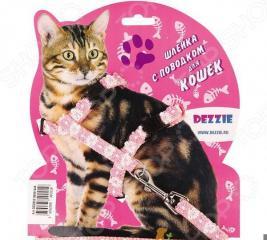 Набор для кошек: шлейка и поводок DEZZIE «Флаффи». Цвет: розовый