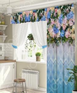 Комплект штор для окна с балконом ТамиТекс «Бонжур». Цвет: голубой