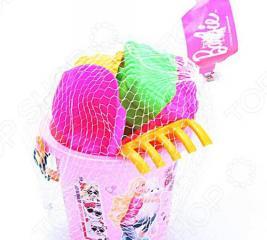 Набор Барби: ведро, лопатка, грабли, 3 формочки Нордпласт