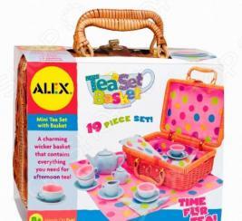 Чайный сервиз в плетеном чемоданчике ALEX «Горошек»