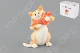 Фигурка декоративная Elan Gallery Кот с золотой рыбкой