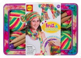 Набор для вязания спицами ALEX «Разноцветные шарф и шапочка»