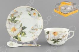 Чашка чайная с блюдцем и ложкой Elan Gallery «Белый шиповник» 730480