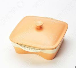 Жаровня керамическая с крышкой «Золотая корочка». Форма: квадратная